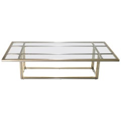 Large Brass and Chrome Coffee Table Romeo Rega, 1970s