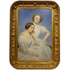 Portrait of Two Young Girls, Oil on Panel Signed Ary Scheffer