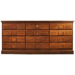 French Pitch Pine Bank of Drawers, circa 1900