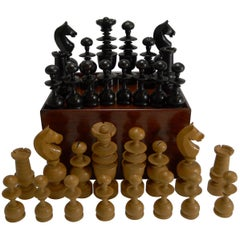 Large Antique English Regency Style Chess Set in Wooden Case, circa 1900