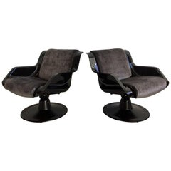 Pair of Yrjo Kukkapuro Swivel Lounge Chairs, Model 3814-1KF