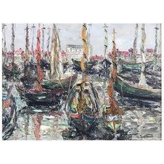 Yves de Saint Front 20th Century Oil on Canvas Port of Marseille