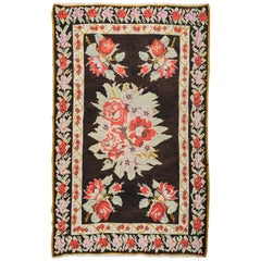 Old True Caucasian Kilim Karabagh with Red Roses