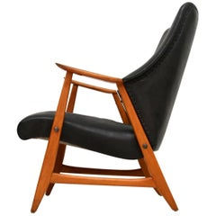 1960s Danish Vintage Leather and Teak Armchair