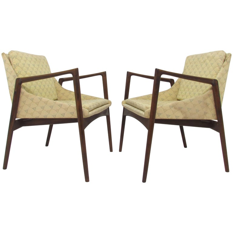 Pair of Ib Kofod-Larsen Danish Lounge Chairs for Selig