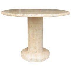 Solid Round Travertine Marble Table, Attributed to Angelo Mangiarotti