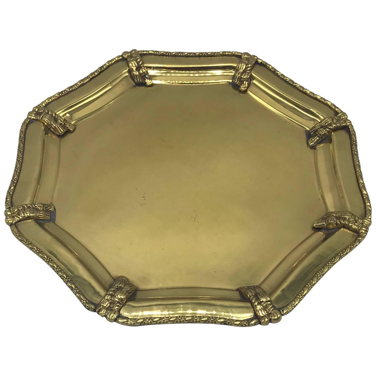 1960s Italian Brass Tray with Rope Detail