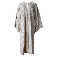Antique Chinese Cantonese Embroidered Robe Ivory White with Bronze Buttons