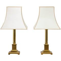 Pair of Herda Hollywood Regency Style Brass Table Lamps