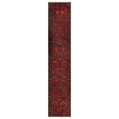 Antique Red and Blue Floral Lilihan Runner Rug
