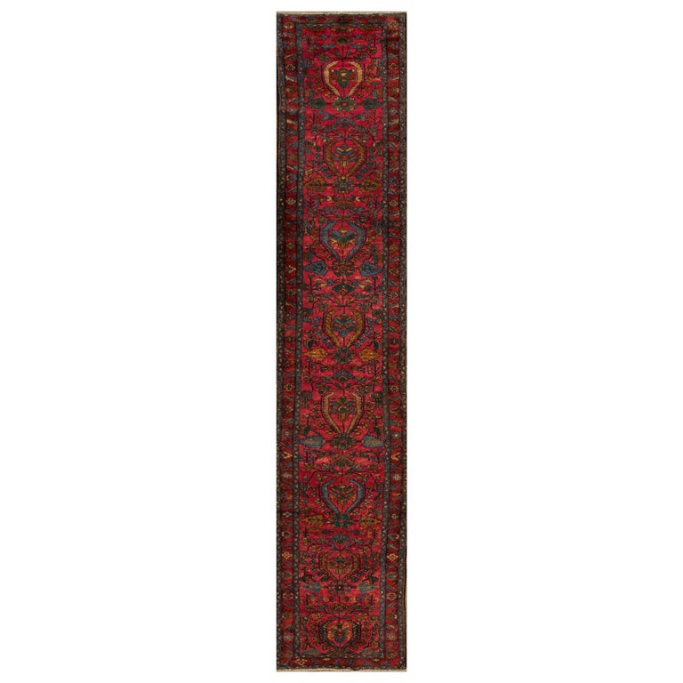 Antique Red and Blue Floral Lilihan Runner Rug For Sale