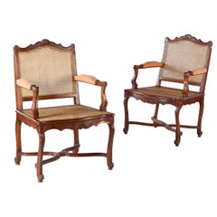 Pair of Walnut Caned Bergeres