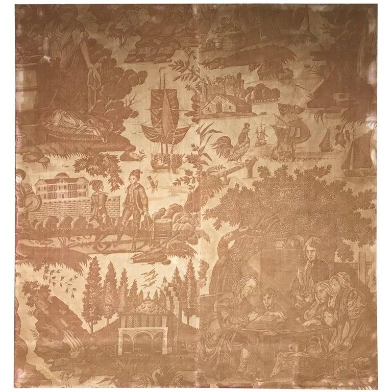 18th Century French Toile De Jouy Textile Panel