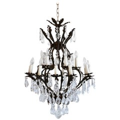 Early 20th Century Italian Birdcage Chandelier Dressed in Harlequin Pear Drops
