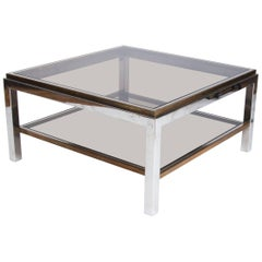 Willy Rizzo Chrome, Brass and Smoked Glass Coffee Table Midcentury Design Italy