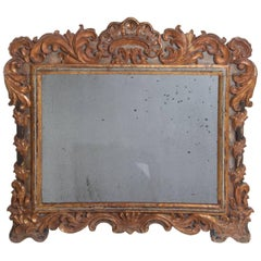 18th Century Baroque Carved and Gilt Mirror from Portugal