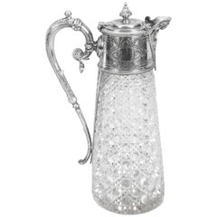 Antique Victorian Silver Plate Mounted and Cut Crystal Claret Jug, 19th Century