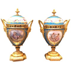 Antique Pair of Ormolu-Mounted Sèvres Vase French, circa 1880