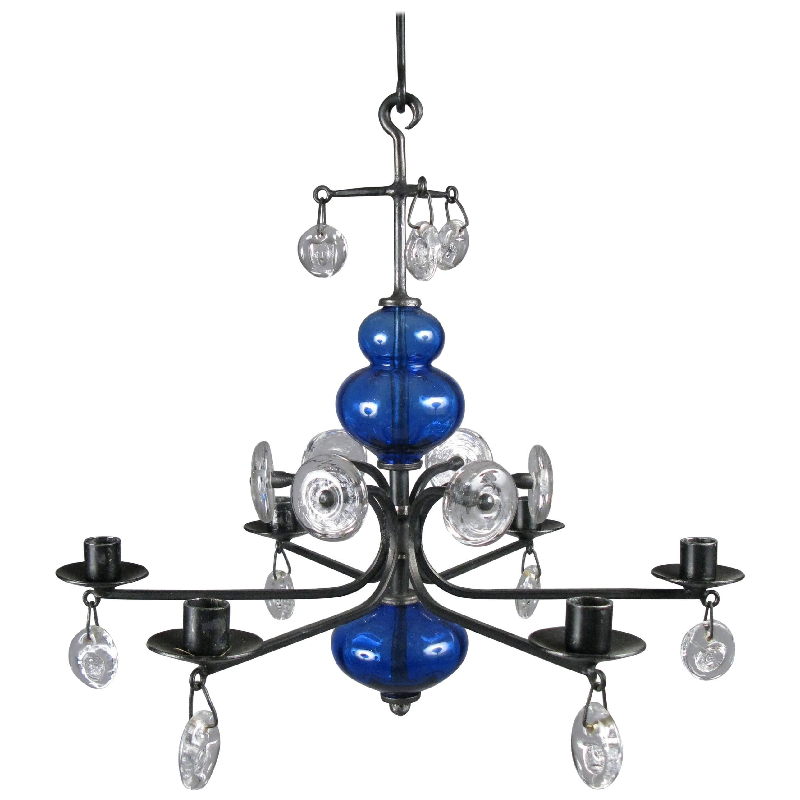 Danish Glass And Iron Chandelier By Erik Hoglund For Kosta Boda