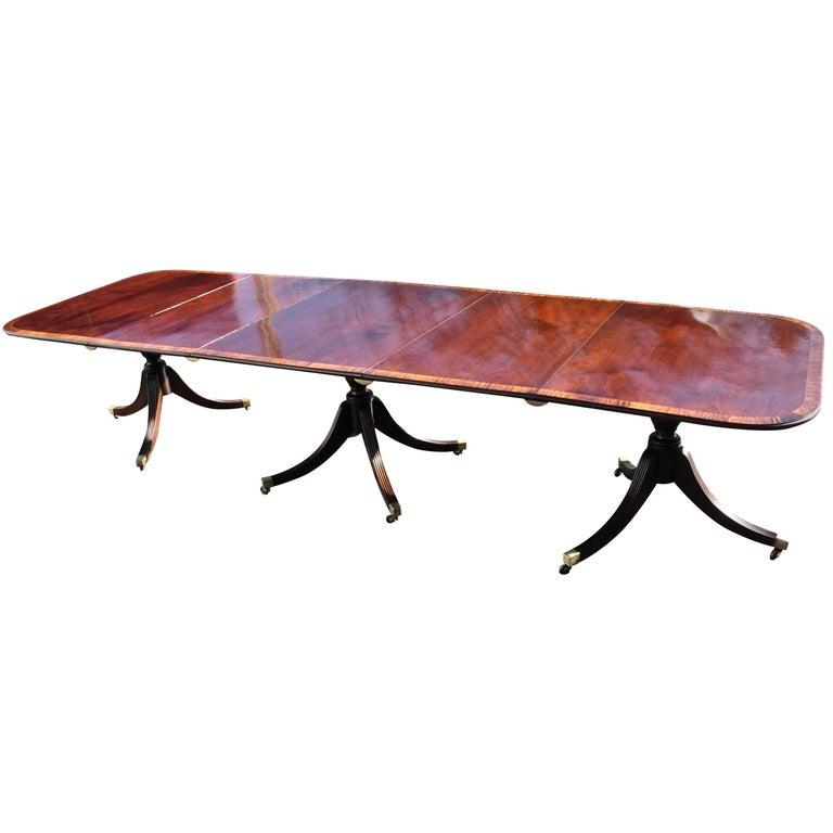 Regency Style Mahogany 3 Pedestal Dining Table, circa 1900