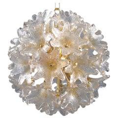 Elegant Murano Glass and Brass Flower Ball Chandelier