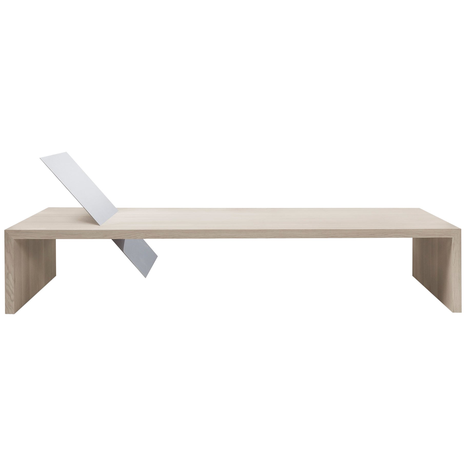 Contemporary Minimal Bleached Oak Daybed Bench Mirror Polish St Steel Backrest