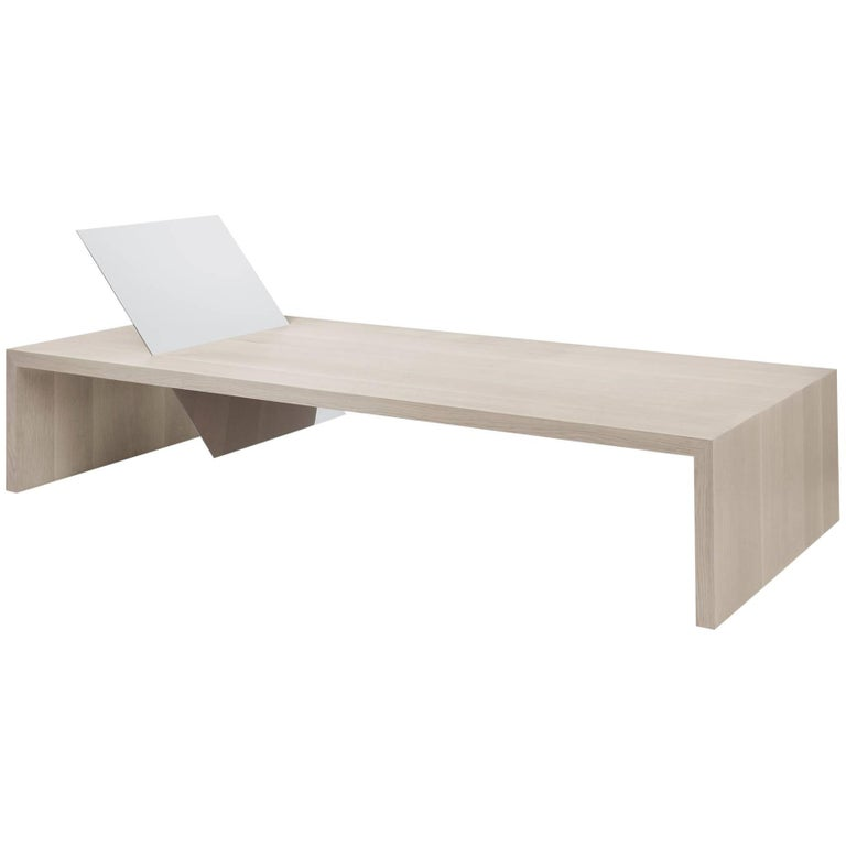 Contemporary Minimal Bleached Oak Daybed Bench Mirror Polish St. Steel Backrest For Sale