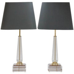 Acrylic Column Hollywood Regency Table Lamps, 1970s