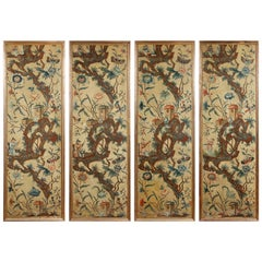 Set of Four Piemonte Chinoserie Painted Panels