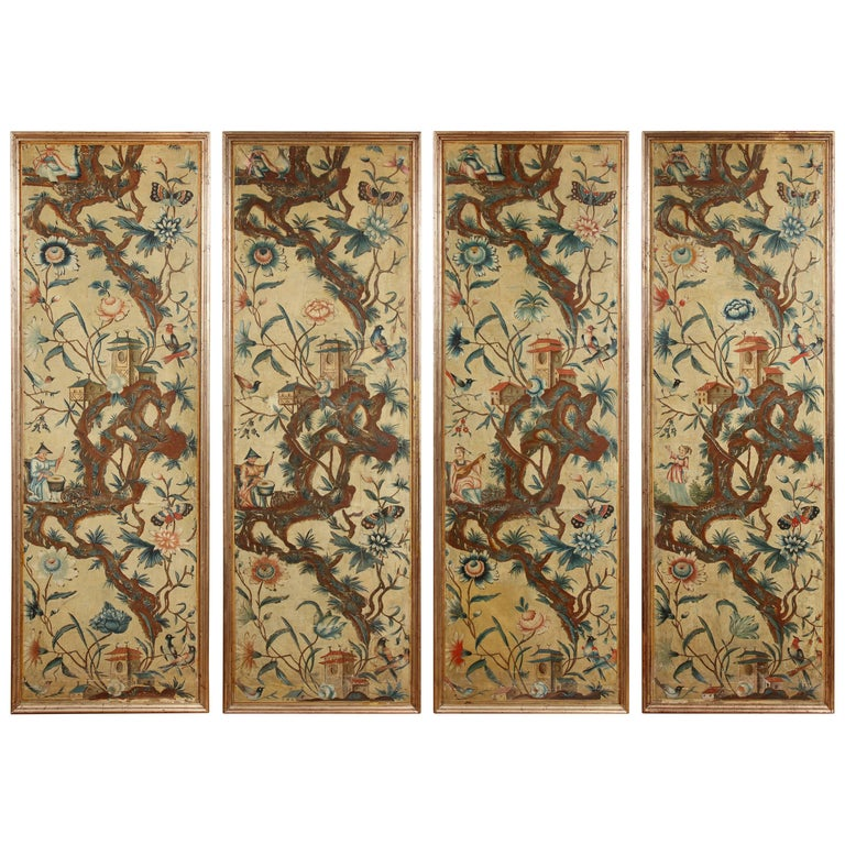 Set of Four Piemonte Chinoserie Painted Panels For Sale