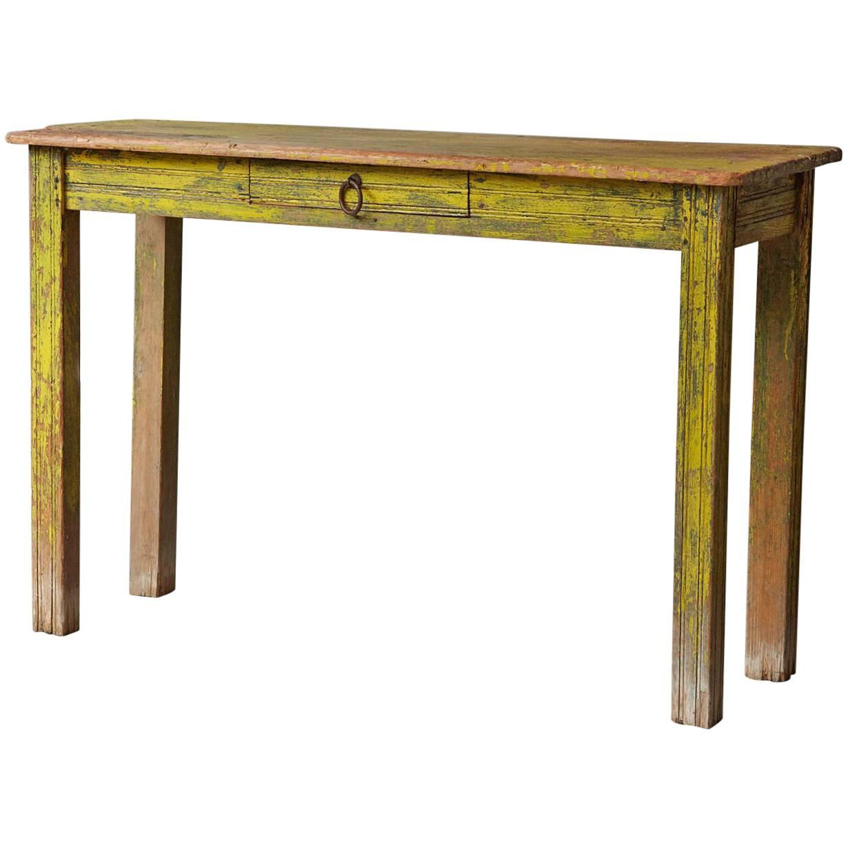 Wonderful Primitive Yellow Painted Distressed Console Table For Sale