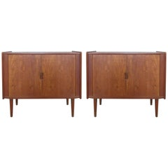 Pair of 1950s Danish Teak Tambour Cabinets