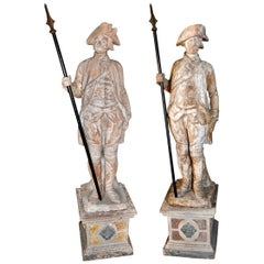 Pair of 19th Century French Terracotta Entrance Guard Statues