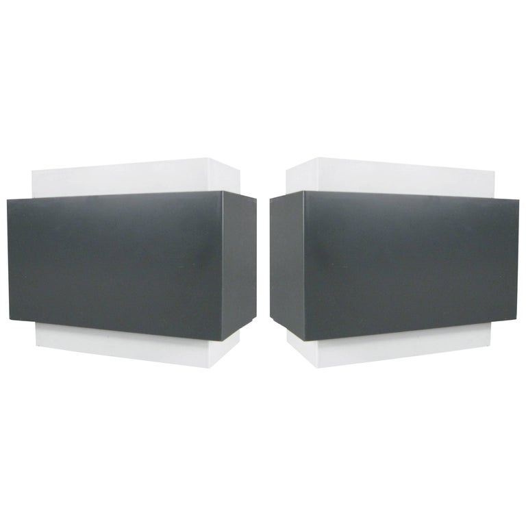Pair of 1970s Louvered Cube Wall Sconces by Lightolier