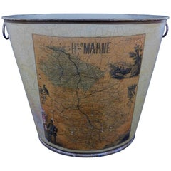 French Regency Style Tole Waste Paper Basket or Trash Can