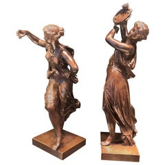 Pair of Bronze Romantic Figures of Ladies Dancing by Dumaige, circa 1870