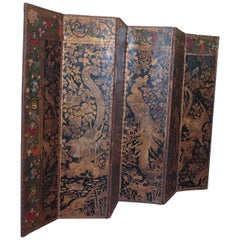 Chinoiserie Embossed and Painted Leather Floor Screen