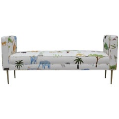 Modern Custom Made Two Armed Bench with Brass Legs in Jungle Animal Print