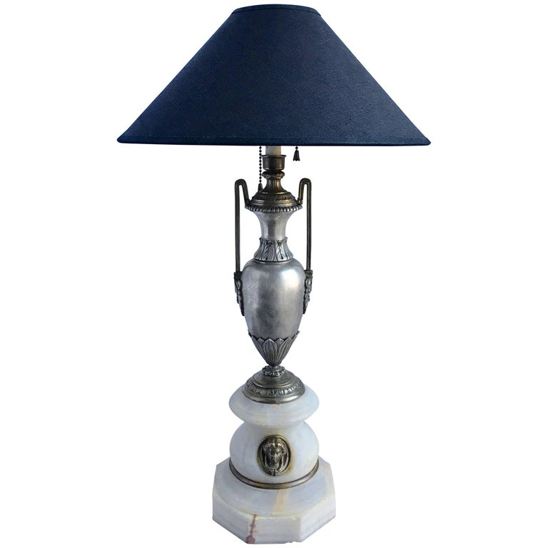 French Marble and Metal Urn Table Lamp with Figural Bust