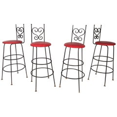 Set of Four Vintage Wrought Iron Bar Stools