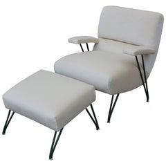 Modern California Style White Velvet Lounge Chair & Ottoman with Green Iron Legs