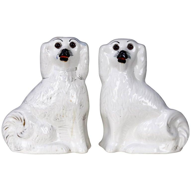 Pair of English Staffordshire Glazed Ceramic Dogs