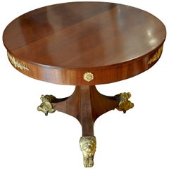 19th Century Neoclassical Center Table with Gilt Lion Feet
