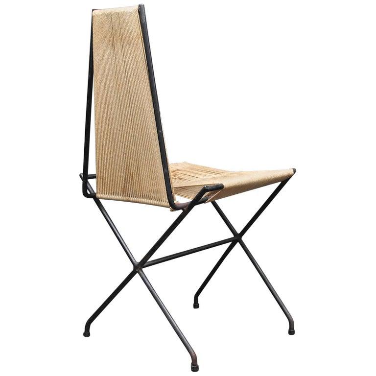 Rare 1950s Detroit Modernist Iron Chair Original Studio Craft McCobb Eames Era