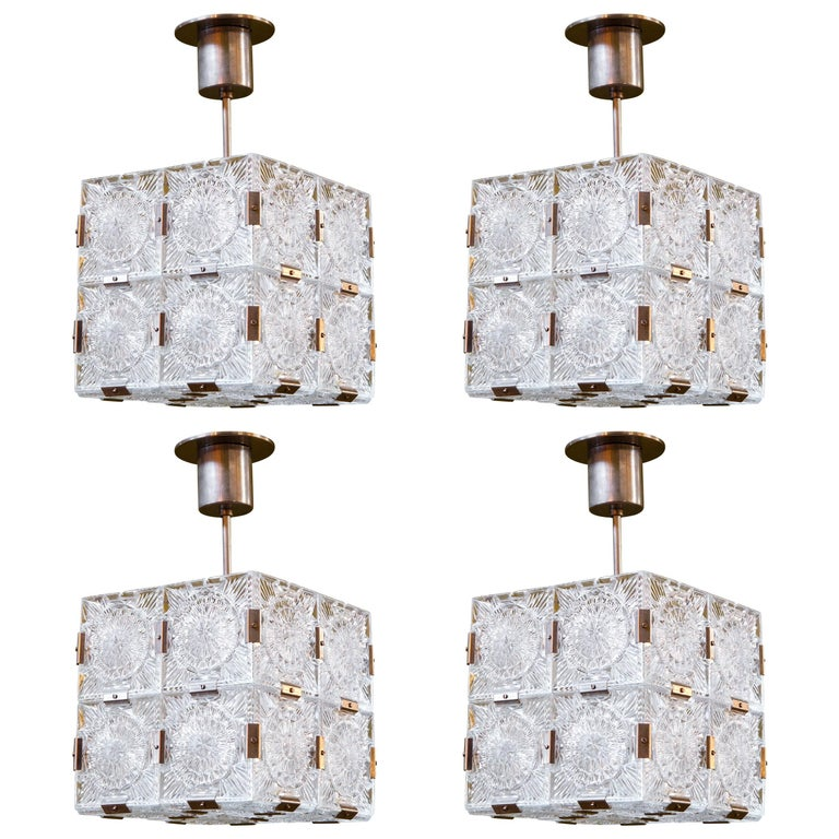 Four Mid Century Modern Glass Cube Pendant Lights Attributed to Kalmar 1