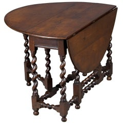 Victorian Period Oak Barley Twist Gate Leg Table