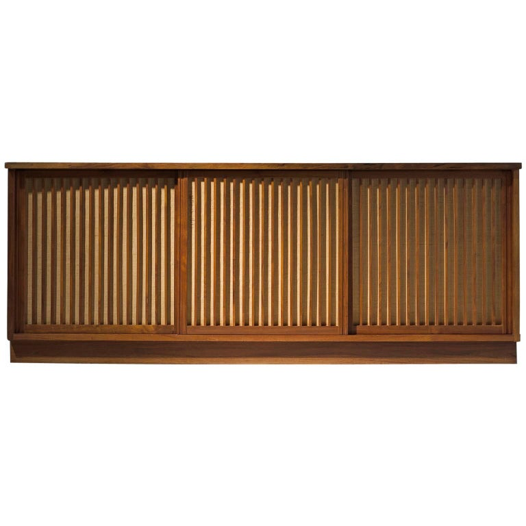 George Nakashima Cabinet with Walnut and Pandanus Cloth 1
