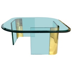 Modern Sculptural Brass and Glass Coffee Table in the Style of Pace