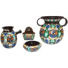 Antique Swiss Arts & Crafts Thoune Majolica Set of Vase, Jug, Plate and Holder