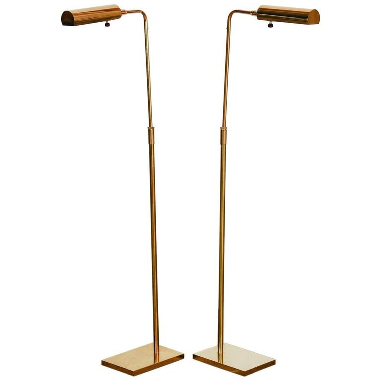 Pair of Koch and Lowy Adjustable Brass Reading Lamps